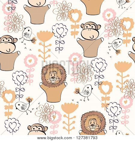 Seamless pattern. Hand puppet of dolls in puppet theater