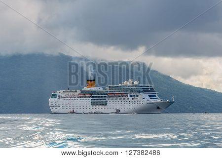 Hell-Ville Madagascar - December 19 2015: Costa Neoromantica Cruise ship anchored at Hell-Ville Nosy Be Island Madagascar.