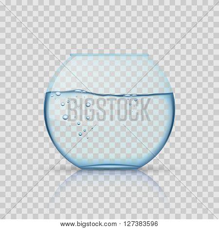 Realistic glass fishbowl, aquarium with water on transparent background. Glass aquarium, aquarium bowl for fish or aquarium with liquid transparent. Vector illustration