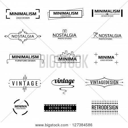 Minimal modern vector logos. Minimal line emblems or minimal labels vector set