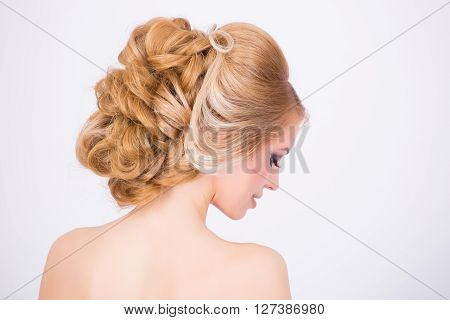 Bridal fancy hairstyle from the back close up shot