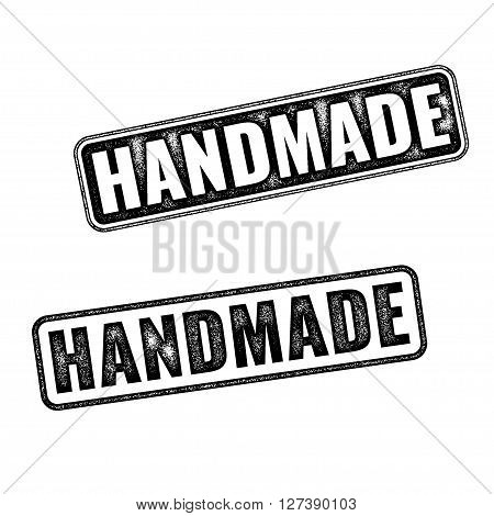 Two realistic vector Handmade grunge rubber stamps isolated on white background