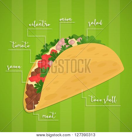 Mexican Taco. Mexican food concept. Spicy meal. Tortilla, lettuce, salsa and beef in wrap. Banner of mexican food. Cartoon mexican food poster. National food from Mexico. Mexican fast food.