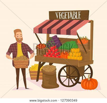 Local farmer shopkeeper. Seller fresh vegetables. Farmers Market concept. Vector illustration.
