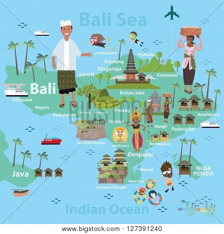 Bali Indonesia Map Vector Photo Free Trial Bigstock