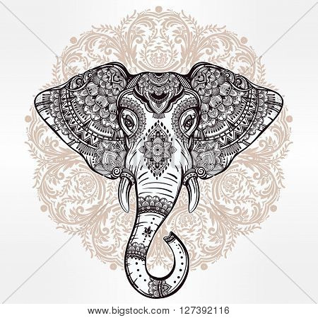 Vintage mandala vector ethnic elephant with tribal ornaments. Ideal ethnic background, tattoo art, yoga, African, Indian, Thai, spirituality, boho design. Use for print, posters, t-shirts, textiles.