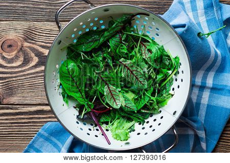 Fresh green salad mix on wooden background
