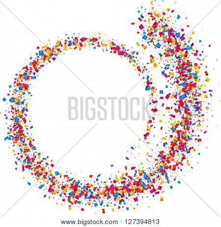 White abstract background with spiral of color confetti. Vector illustration.