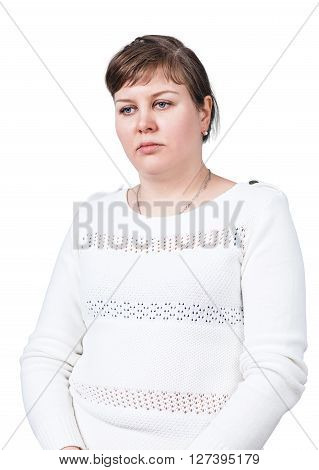 Adult sad woman with overweight isolated on white