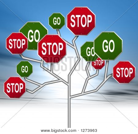 An Illustration Of Blank Red Stop Signs Forming A Tree
