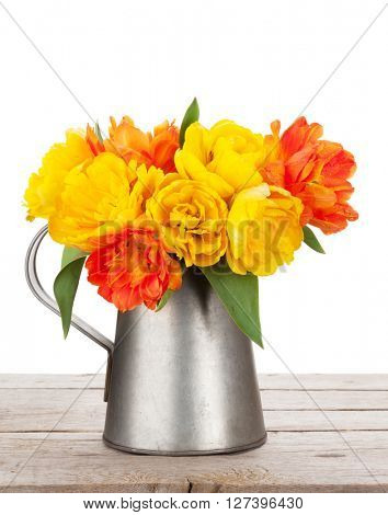 Colorful tulips bouquet in watering can on wooden table. Isolated on white background