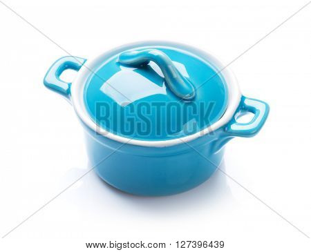 Blue saucepan. Isolated on white background