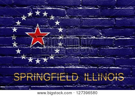 Flag Of Springfield, Illinois, Painted On Brick Wall