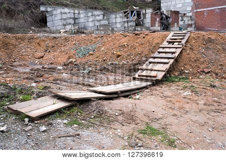 Heap of construction waste and bricks. Garbage bricks and  broken glass. Environmental pollution.