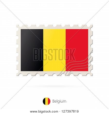 Postage Stamp With The Image Of Belgium Flag.