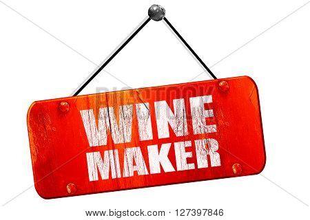 wine maker, 3D rendering, red grunge vintage sign