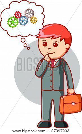 Business man gear progress  .eps 10 vector illustration flat design