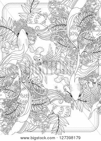 graceful goldfish swim underwater - adult coloring page poster