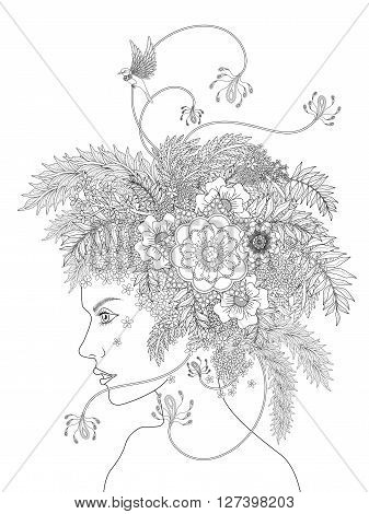 fashion adult coloring page with a woman and her floral headwear