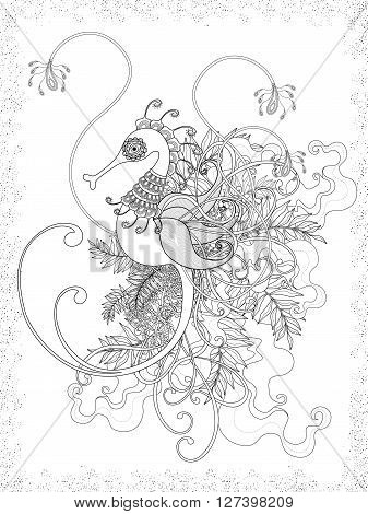 lovely adult coloring page with hippocampus and floral element