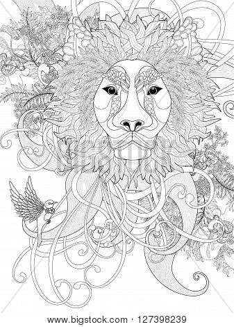 prestigious lion coloring page with floral elements with floral elements