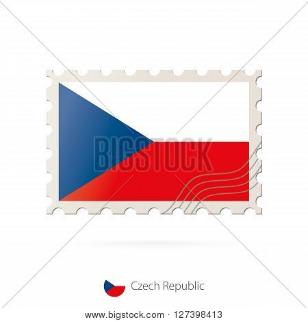 Postage Stamp With The Image Of Czech Republic Flag.