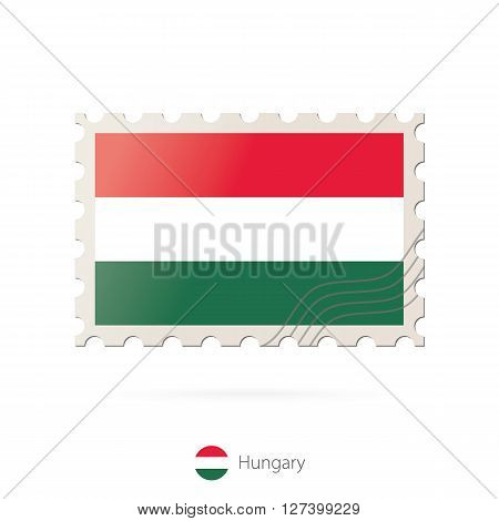 Postage Stamp With The Image Of Hungary Flag.