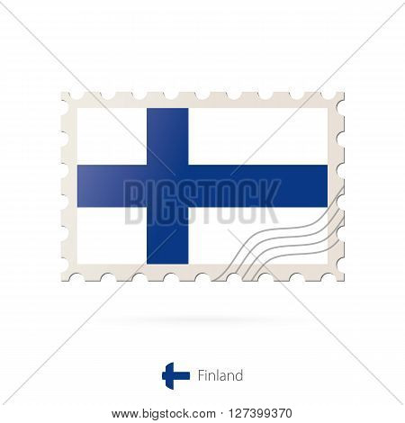 Postage Stamp With The Image Of Finland Flag.
