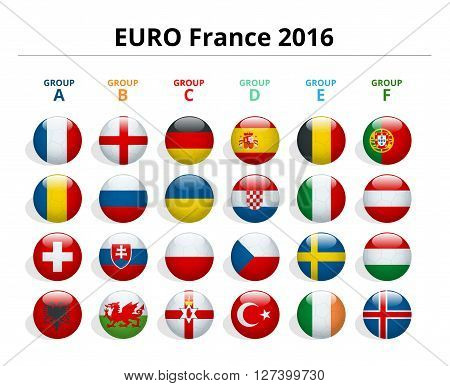 Euro 2016 in France. Flags of European countries participating to the final tournament of Euro 2016 football championship poster
