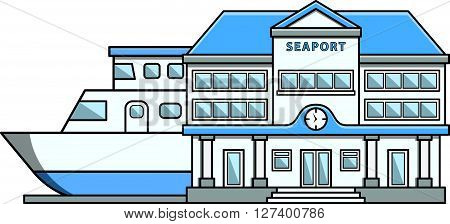 Seaport Doodle Illustration cartoon .Eps 10 editable vector Illustration design