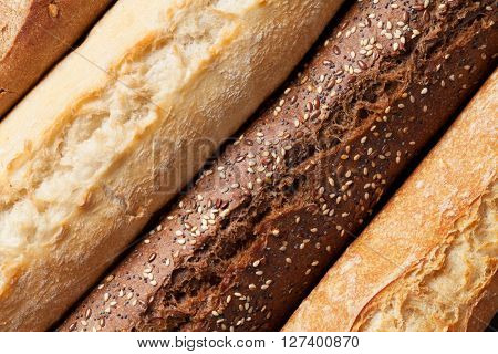Mixed breads closeup. Top view