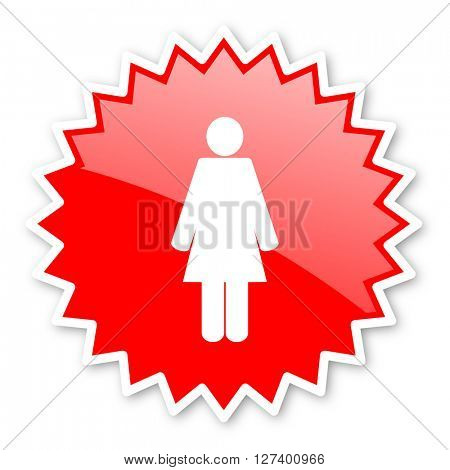 female red tag, sticker, label, star, stamp, banner, advertising, badge, emblem, web icon