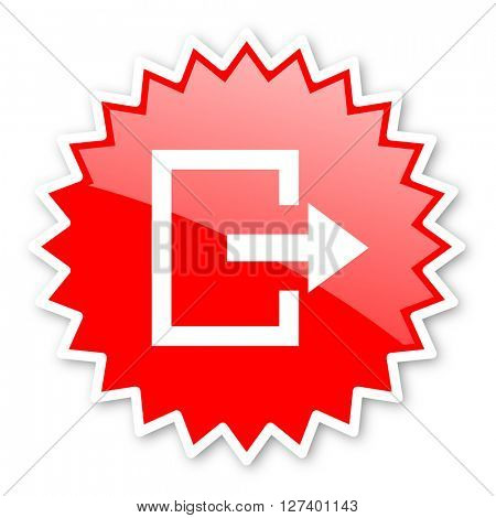 exit red tag, sticker, label, star, stamp, banner, advertising, badge, emblem, web icon