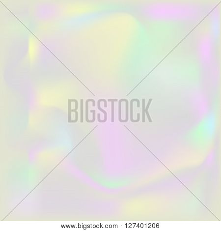 Holographic pearl background. Iridescent hologram turbid backdrop. Nacreous pearl texture paper.