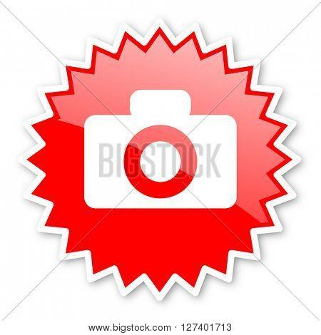 camera red tag, sticker, label, star, stamp, banner, advertising, badge, emblem, web icon
