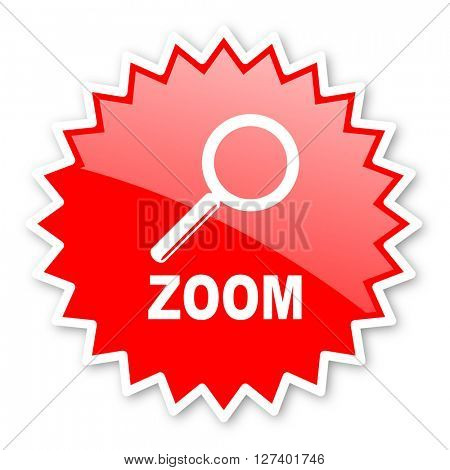 zoom red tag, sticker, label, star, stamp, banner, advertising, badge, emblem, web icon