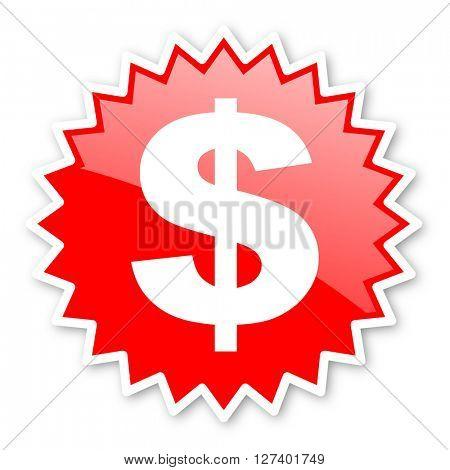 dollar red tag, sticker, label, star, stamp, banner, advertising, badge, emblem, web icon