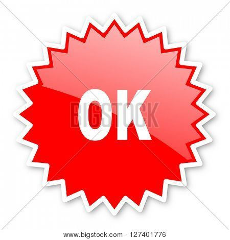 ok red tag, sticker, label, star, stamp, banner, advertising, badge, emblem, web icon