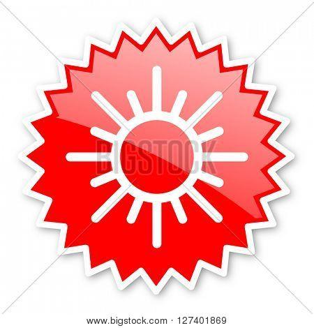 sun red tag, sticker, label, star, stamp, banner, advertising, badge, emblem, web icon