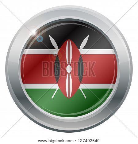 Kenya Flag Silver Icon