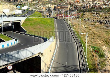 City road streetscape in Yerevan