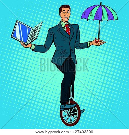 Businessman on unicycle business balance pop art retro style. Circus business concept. Protection laptop. Computer protection anti-virus program