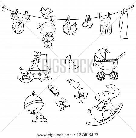 Baby Doodle Object Hand Drawn Sketch Doodle .eps10 editable vector illustration design