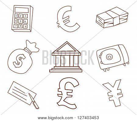 Funny Finance Design Object Hand Drawn Sketch Doodle .eps10 editable vector illustration design