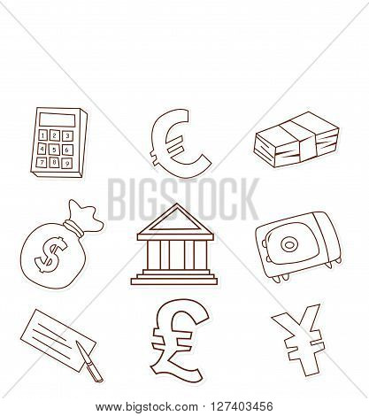 Funny Finance Design Object Hand Drawn Sketch Doodle .eps10 editable vector illustration design