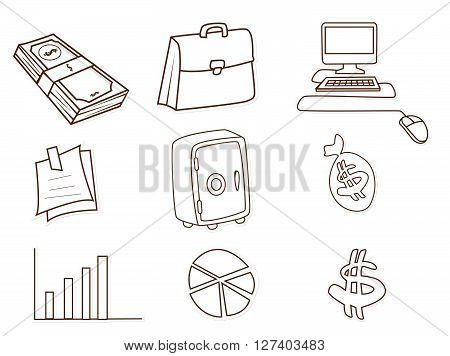 Business and Finance Object Hand Drawn Sketch Doodle .eps10 editable vector illustration design