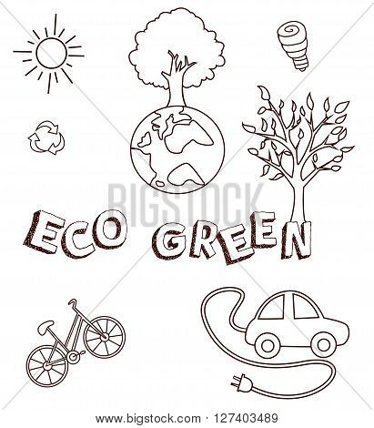 Eco Green Doodle Object Collection Hand Drawn Sketch Doodle .eps10 editable vector illustration design