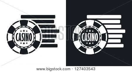 Casino chips icon stock vector. Two-tone version on black and white background