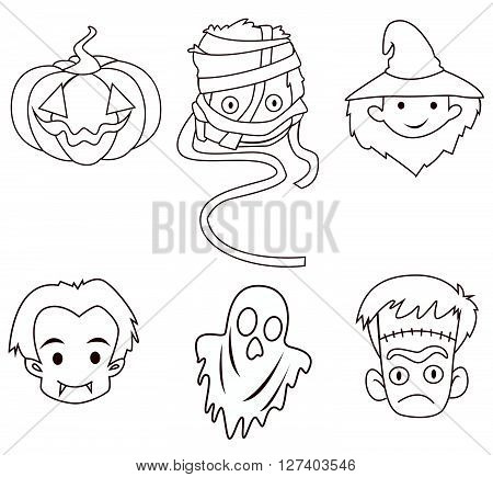Halloween Banner Object Collection .eps10 editable vector illustration design