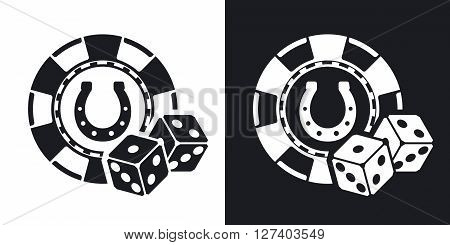 Casino chips with two dices stock vector. Two-tone version on black and white background